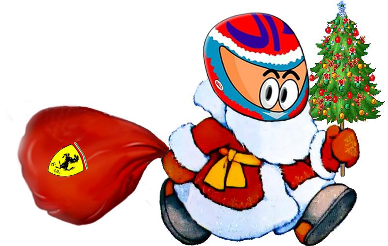 Виталий Петров в костюме Деда Мороза и мешком Ferrari от eko