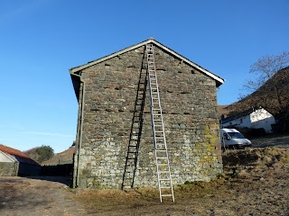 Farm building in Stanah. Two ways to climb a ladder ... but the dark shadowy one may be a bit dangerous!!!