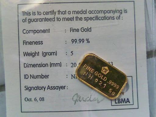 Emas Antam bersertifikat Resmi