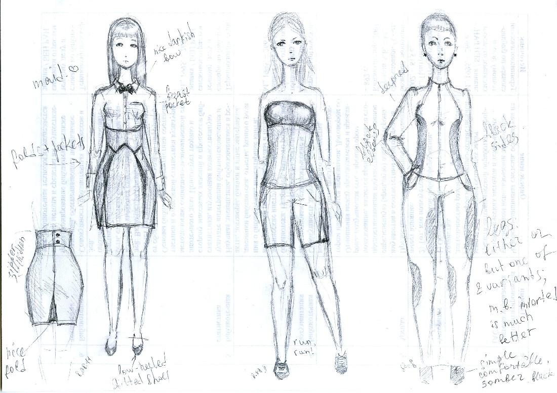 Рисунки дизайнеров одежды