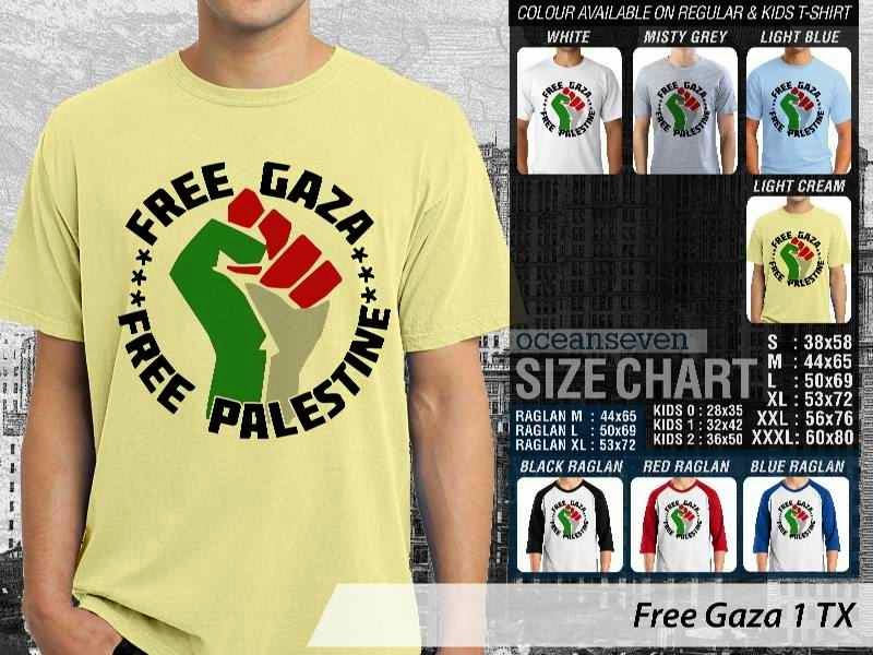 Kaos Muslim Islam Gaul Free Gaza 1 Free Gaza Free Palestine distro ocean seven