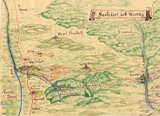 Map of Nachtdorf and Environs.  Mordheim to the west off map.