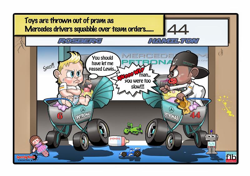 Нико Росберг и Льюис Хэмилтон сорятся в колясках - комикс SpeedyHedz по Гран-при Венгрии 2014