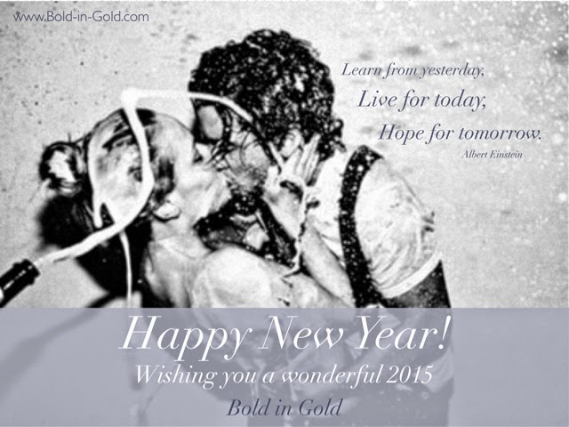 Bold in Gold New Year Annie Leibovitz Champagne Kiss