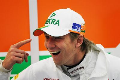 Нико Хюлькенберг с пальцем на Гран-при Бельгии 2012