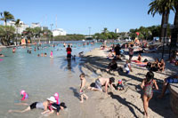 Many people at the pool in South Bank