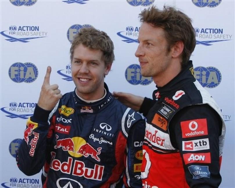 Дженсон Баттон и Себастьяном Феттелем с пальцем после квалификации на Гран-при Монако 2011