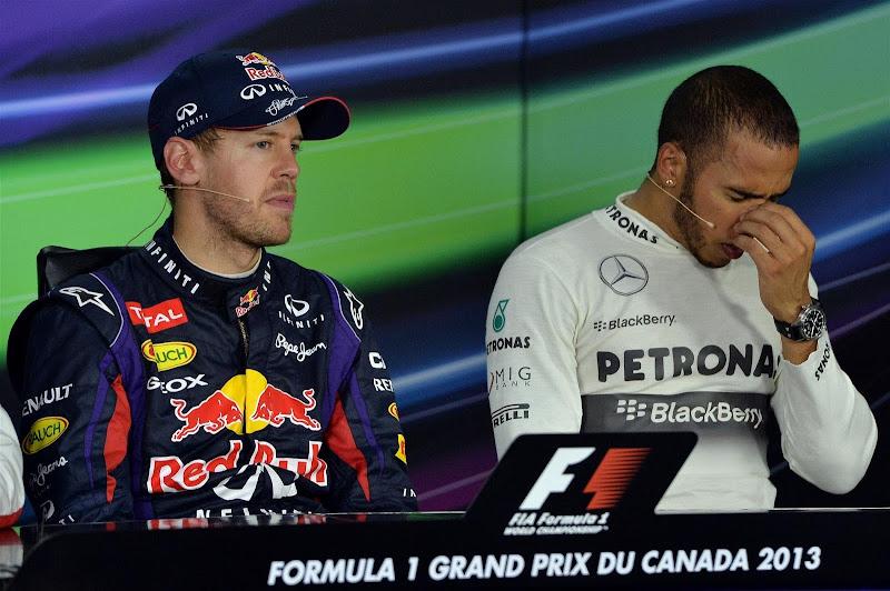 Себастьян Феттель и фэйспалмяший Льюис Хэмилтон на пресс-конференции после гонки на Гран-при Канады 2013