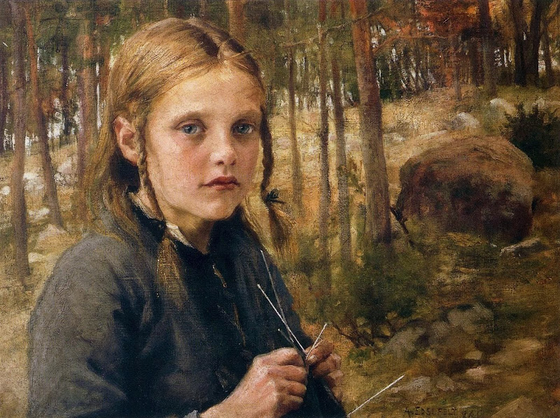 Albert Edelfelt - A Girl Knitting Socks