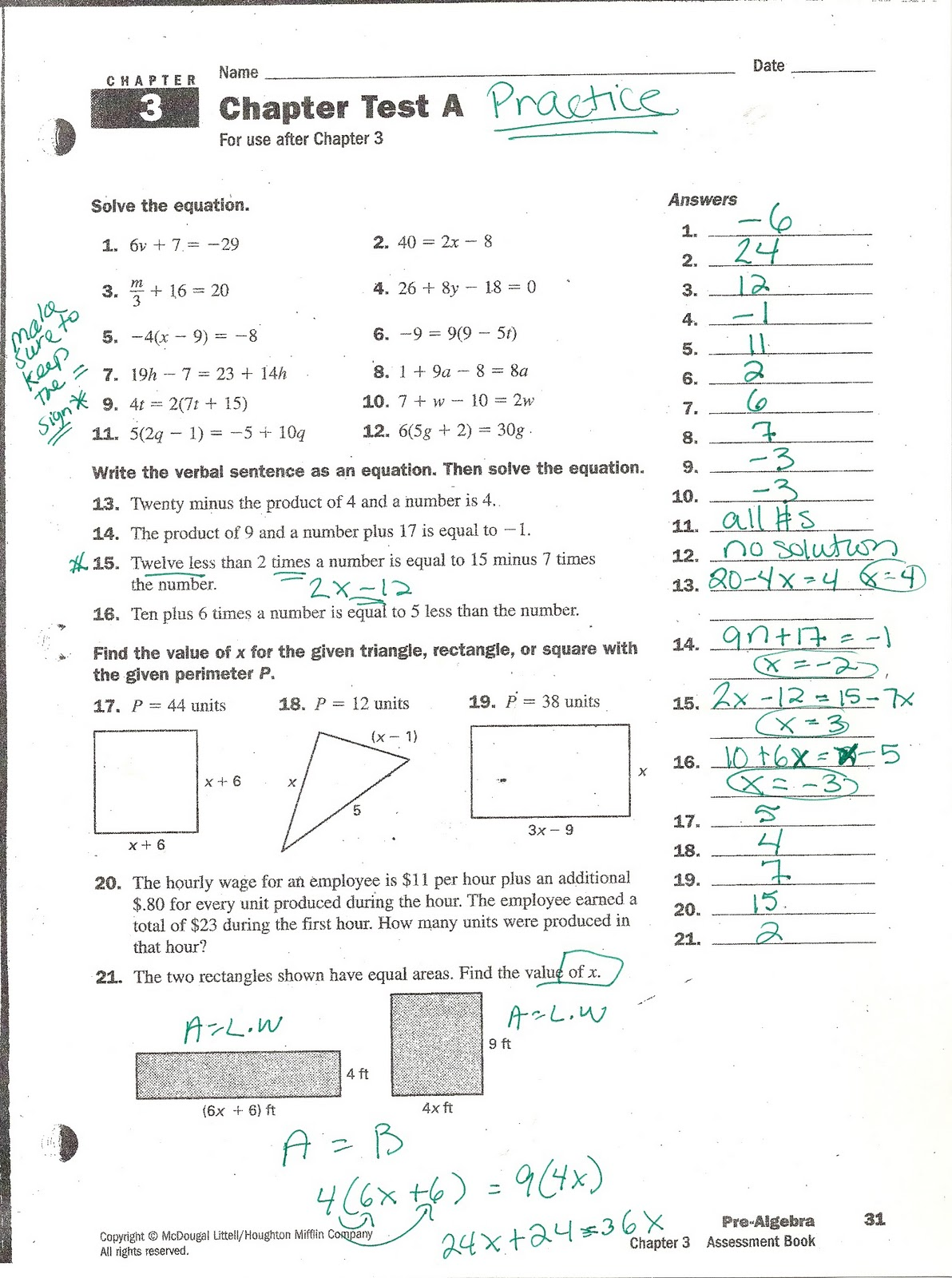 Pre algebra worksheets tests