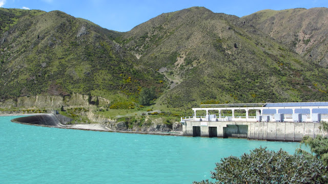 The Benmore hydroelectric plant on the Waitaki River. Yes, the water really is this bright color!