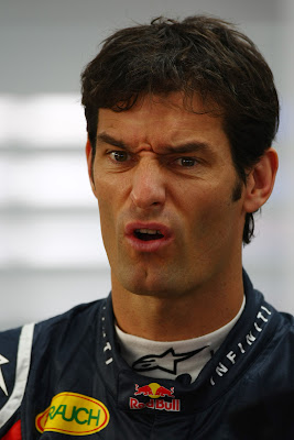 брутальное лицо Марка Уэббера на Гран-при Кореи 2011