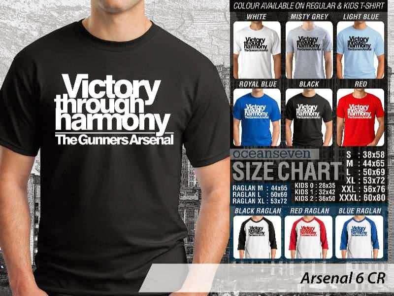 Kaos Bola Arsenal 6 Liga Premier Inggris distro ocean seven
