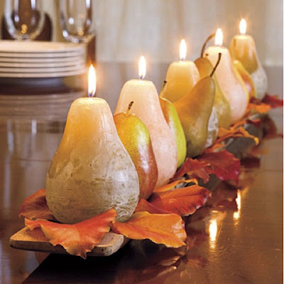 pears, pear candle, candles, fall centerpiece, fall mantel