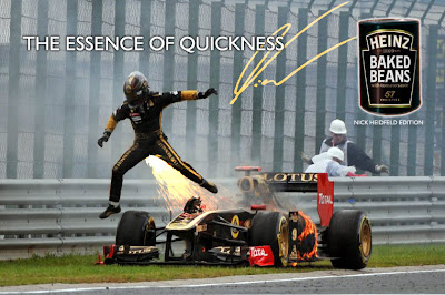 фотошоп Ник Хайдфельд выпрыгивает из горящего Lotus Renault на Гран-при Венгрии 2011