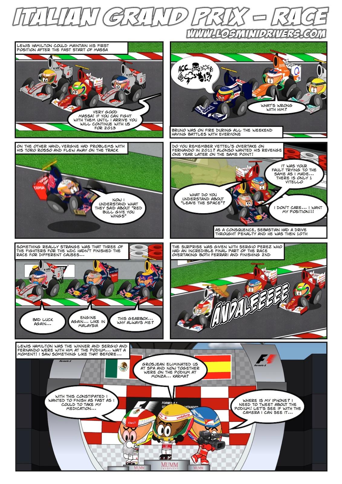 комиксы Los MiniDrivers по гонке на Гран-при Италии 2012