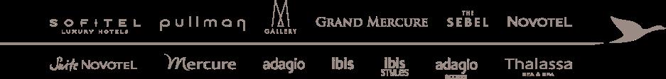 宜必思ibis、索菲特Sofitel、鉑爾曼Pullman、美憬閣Mgallery、美爵Grand Mercure、諾富特Novotel、美居Mercure;