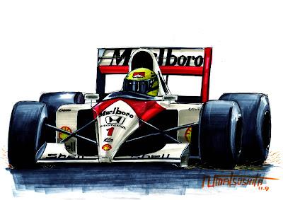 рисунок болида Айртон Сенны McLaren MP4-6 (1991) by matsushita