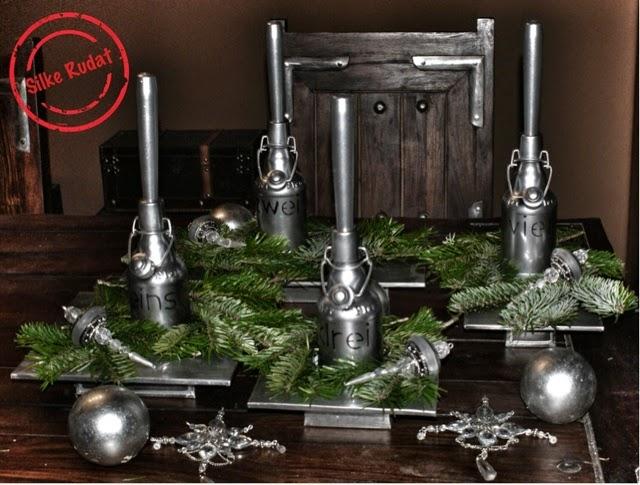 silke rudat der deutsche blog silberner adventskranz aus bierflaschen. Black Bedroom Furniture Sets. Home Design Ideas