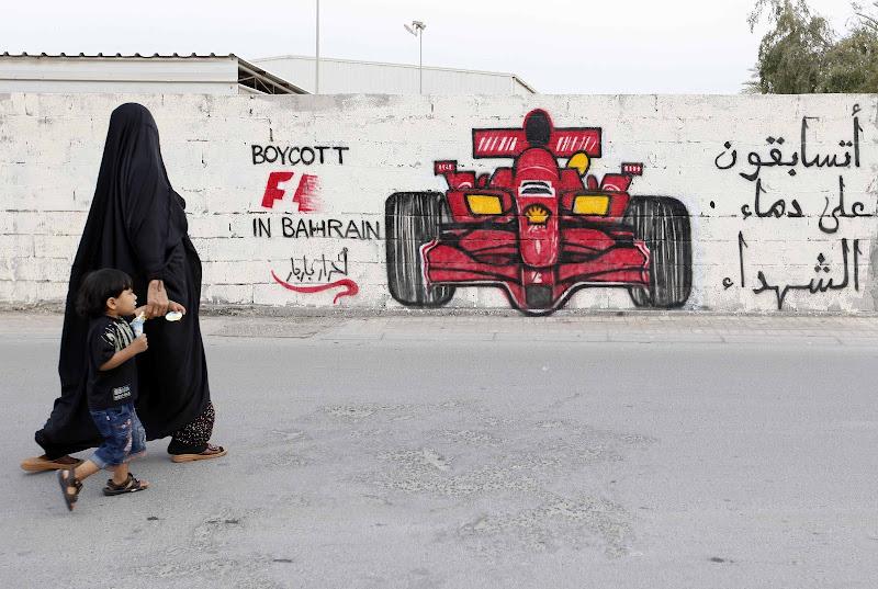 Boycott F1 in Bahrain - граффити в знак протеста Гран-при Бахрейна 2012