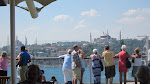The Hagia Sophia in the center, Blue Mosque on the left