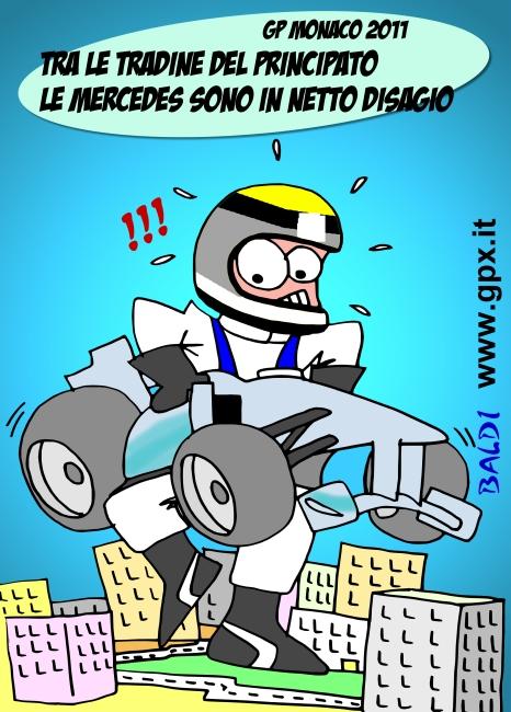 Нико Росберг на улицах Монте-Карло на своем Mercedes GP - комикс Baldi по Гран-при Монако 2011