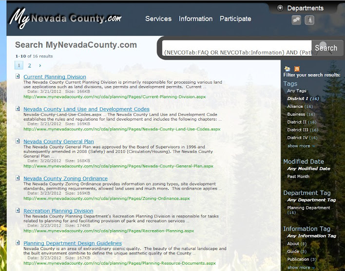 Nevada County SharePoint search