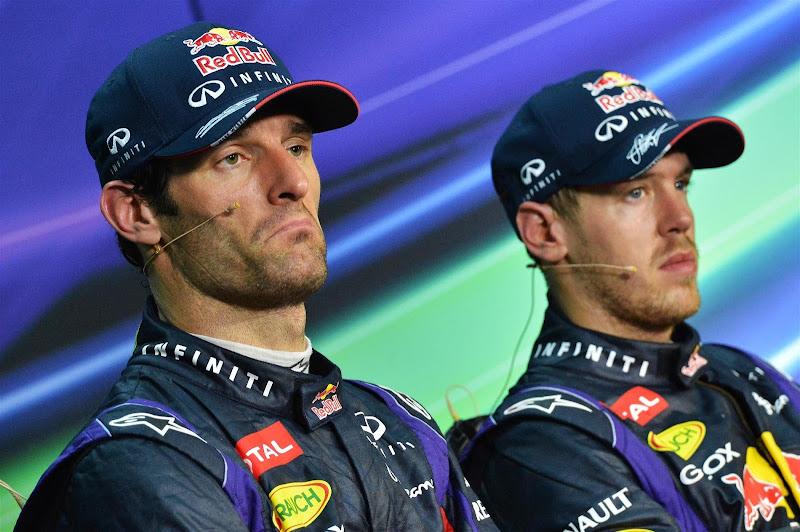 Марк Уэббер и Себастьян Феттель на пресс-конференции после гонки на Гран-при Малайзии 2013
