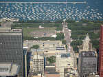 A giant mass of people can be seen; they were there for the Taste of Chicago festival