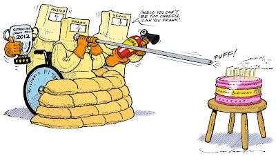 Фрэнк Уильямс задувает свечи на торте - комикс Jim Bamber