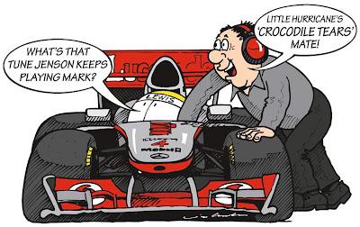 Льюис Хэмилтон и механик McLaren - комикс Jim Bamber