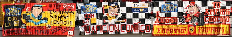 баннеры на трибунах от болельщиков Фернандо Алонсо на предсезонных тестах 2012 в Барселоне