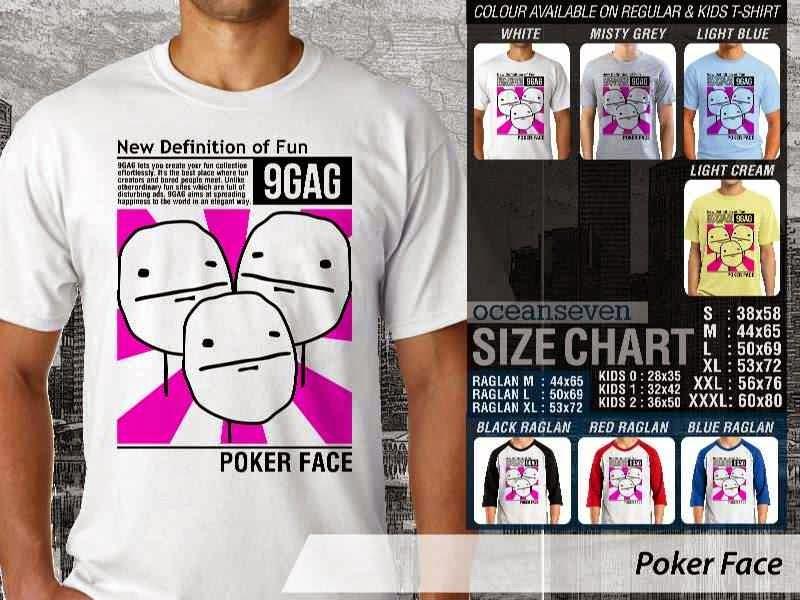 Jual Kaos 9Gag Lucu Meme Poker Face distro ocean seven