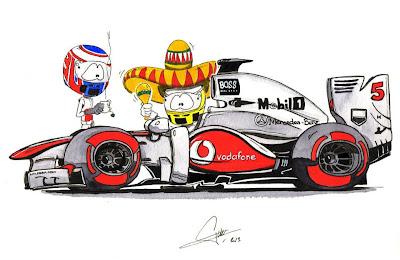 Серхио Перес и Дженсон Баттон McLaren 2013 - комикс Quentin Guibert