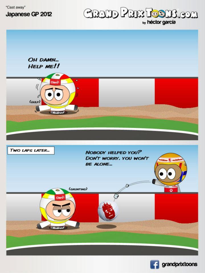 Серхио Перес и Льюис Хэмилтон на Сузуке - комикс Grand Prix Toons по Гран-при Японии 2012