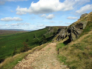 The Long Causeway - a very stony Roman Road up onto Stanage Edge