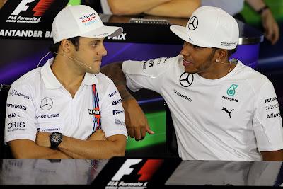 Фелипе Масса и Льюис Хэмилтон на пресс-конференции в четверг на Гран-при Великобритании 2014
