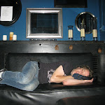 Chad can sleep anywhere...it's Saturday game day at a sports bar...in the green room that's actually blue