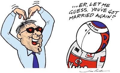 Берни Экклстоун и Дженсон Баттон - комикс Jim Bamber