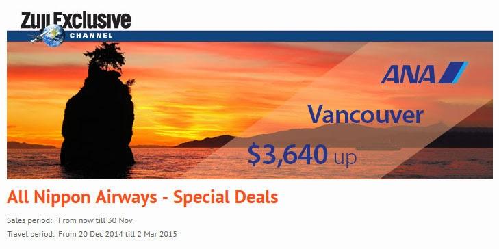 全日空ANA香港往來溫哥華機票優惠,$3,640起(連稅$5,868),出年3月前出發。