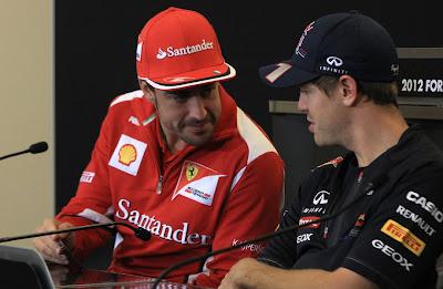 Фернандо Алонсо и Себастьян Феттель на пресс-конференции в четверг на Гран-при США 2012