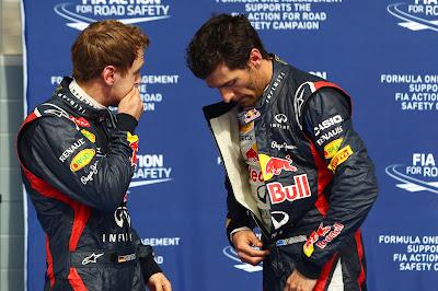 Себастьян Феттель и Марк Уэббер после квалификации на Гран-при Бахрейна 2012