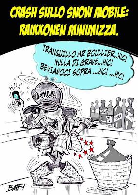 комикс Baffi - Кими Райкконен разговаривает с Эриком Буйе после падения со снегохода