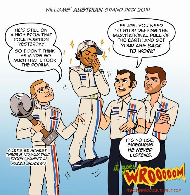 уикэнд команды Williams на Гран-при Австрии 2014 - комикс It Goes Wrooom