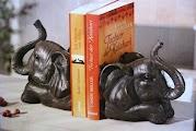 Buchstuetzen-ELEFANT-Buchstuetze-Elefanten-2er-Set-Afrika-Bueste-Figur