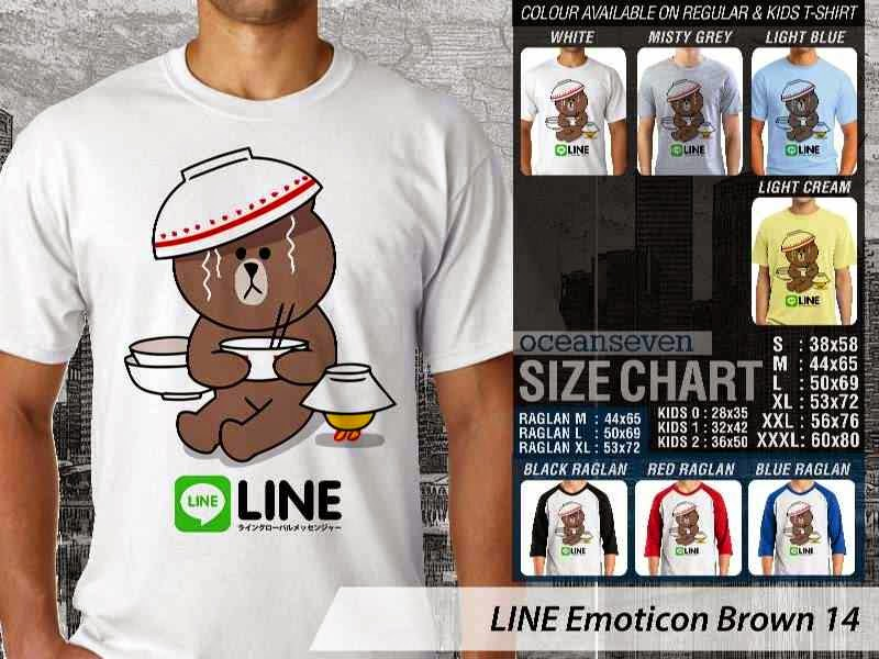 KAOS IT LINE Emoticon Brown 14 Social Media Chating distro ocean seven