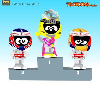 pilotoons Дженсон Баттон Нико Росберг Льюис Хэмилтон на подиуме Гран-при Китая 2012