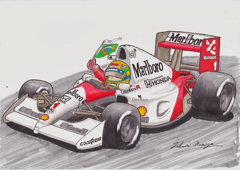 Айртон Сенна McLaren MP4-6 - рисунок mamibou