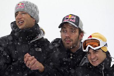 Даниэль Риккардо, Жан-Эрик Вернь и Дани Педроса в Австрии в январе 2012