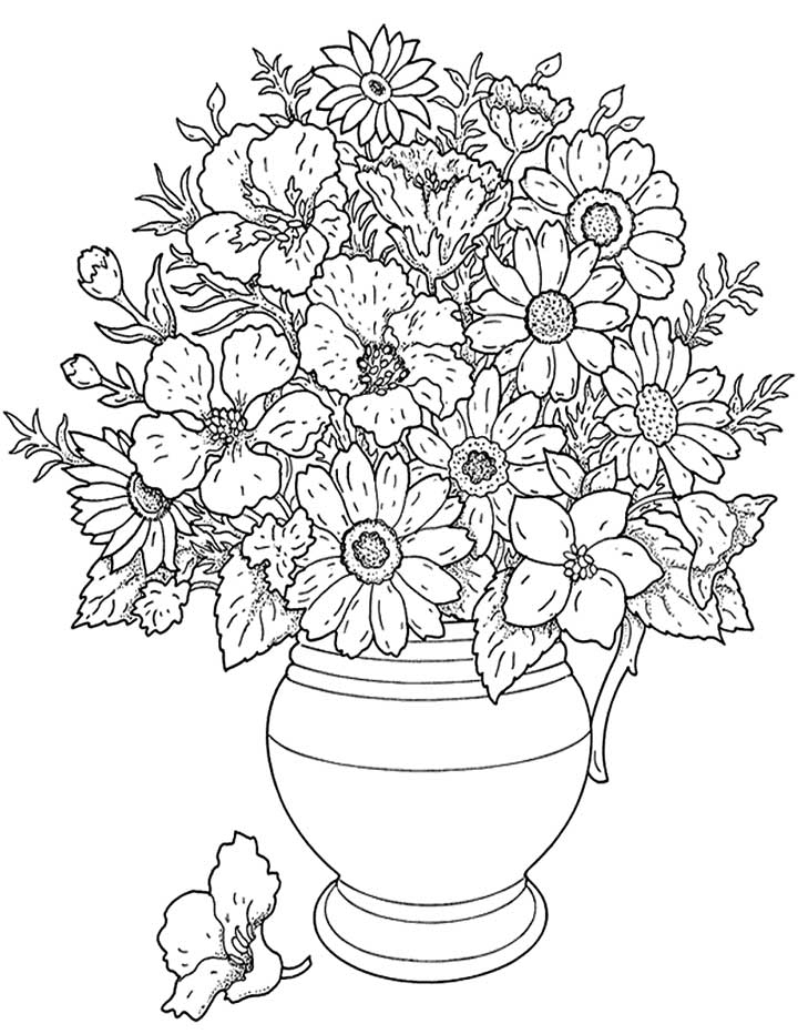 free flower coloring pages for adults - Garden and Flower Coloring Pages for Adults